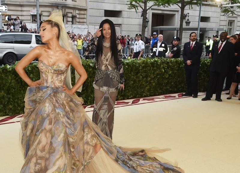 Ariana Grande wearing a Sistine Chapel Dress at the Met Gala 2018