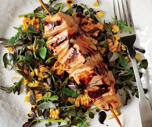 Gingered Salmon Grilled Corn Watercress Salad