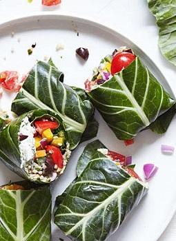 Greek Collard Green Wraps Filled with Fresh Veggies and Herbs